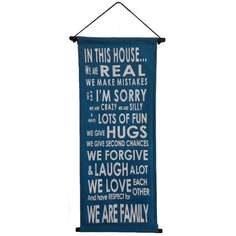 Banner In this house blue