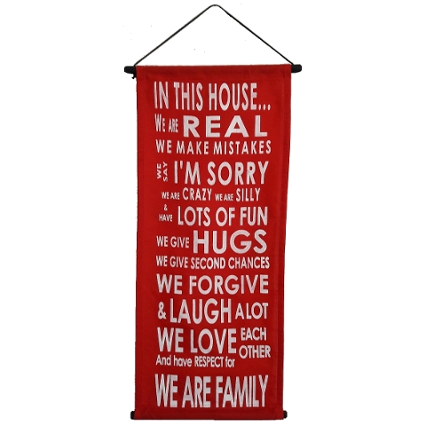 Banner In this house light red.