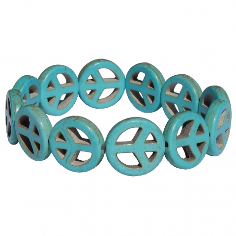 Howlite bracelet peace. Colour: light blue.