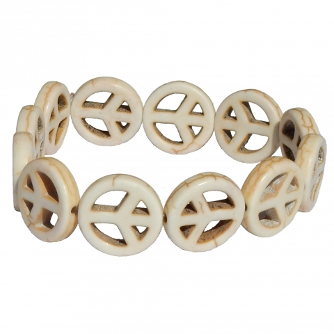Howlite bracelet peace sign. Colour: beige.