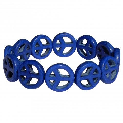 Howlite bracelet peace. Colour: dark blue.