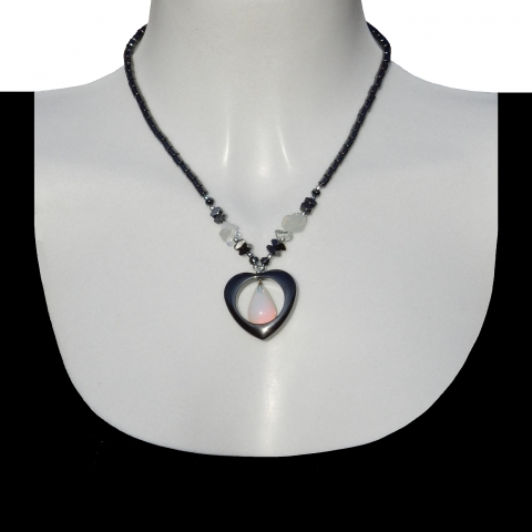 Hematite necklace with opaline glass drop in hart.