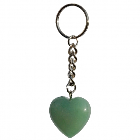 Key chain hart. Made of the gemstone aventurine.