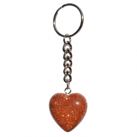 Hart shaped key chain. Material: Goldstone.