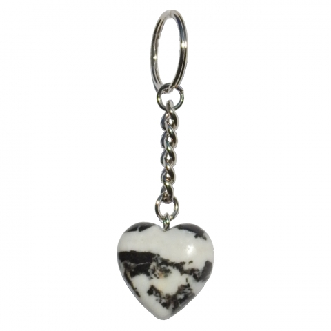 Key chain hart shaped. Material: Zebra jasper.