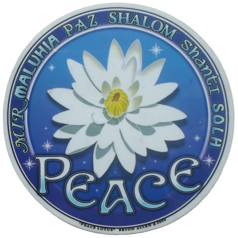 Window sticker Lotus flower with the word 'Peace' in several languages.