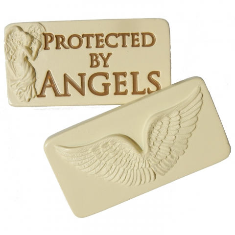 Pocket stone 'Protected by Angels'. Front and back.