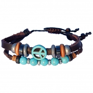 Bracelet with turquoise peace sign.