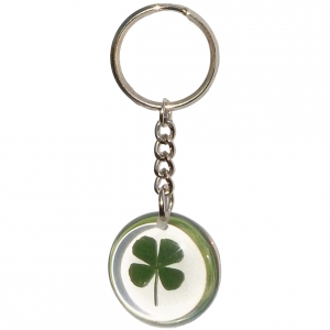 Transparant key chain. There is a real four-leave clover inside.